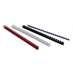 Dorsi plastici a 21 anelli - dorso 25 mm - bianco - Buffetti